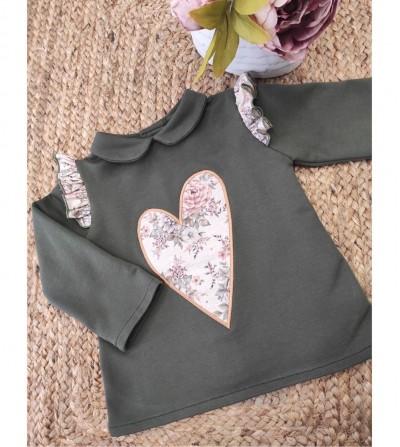 Sudadera corazón verde
