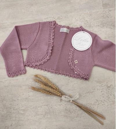 Chaqueta de punto rosa palo